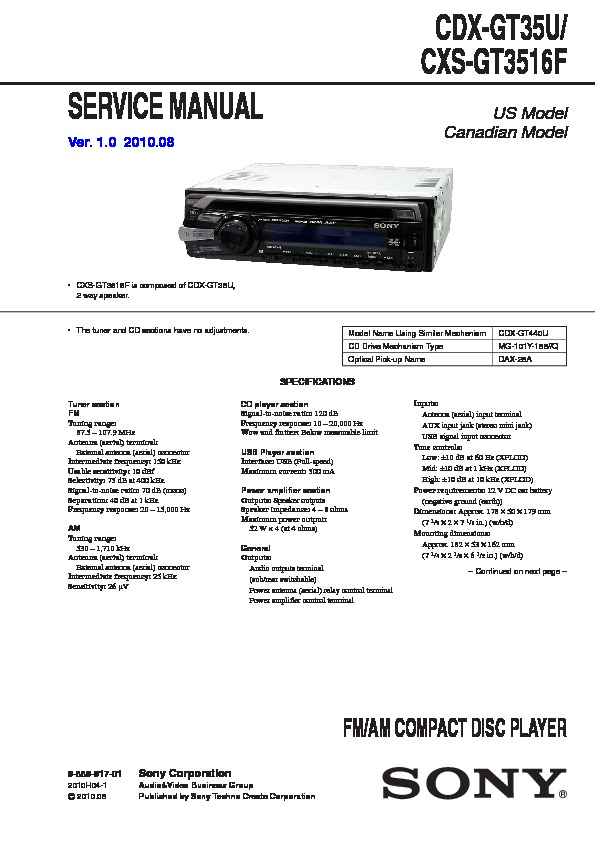 dsx 1048 wiring diagram sony cdx-gt35u service manual — view online or download repair manual