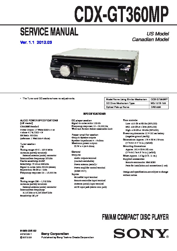 Sony CDX-GT360MP Service Manual — View online or Download repair manualService Manuals and Schematics