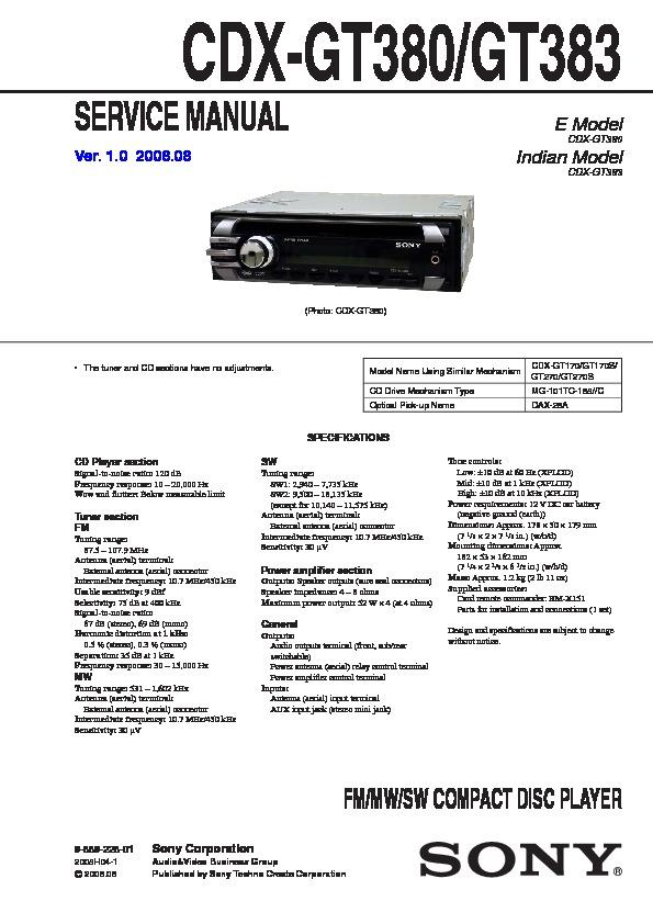 Sony Cdx Gt380 Gt383 Service, Sony Cdx Gt270 Wiring Diagram