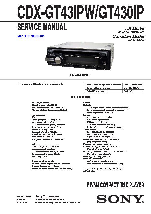 sony cdxgt430ip cdxgt43ipw service manual — view online