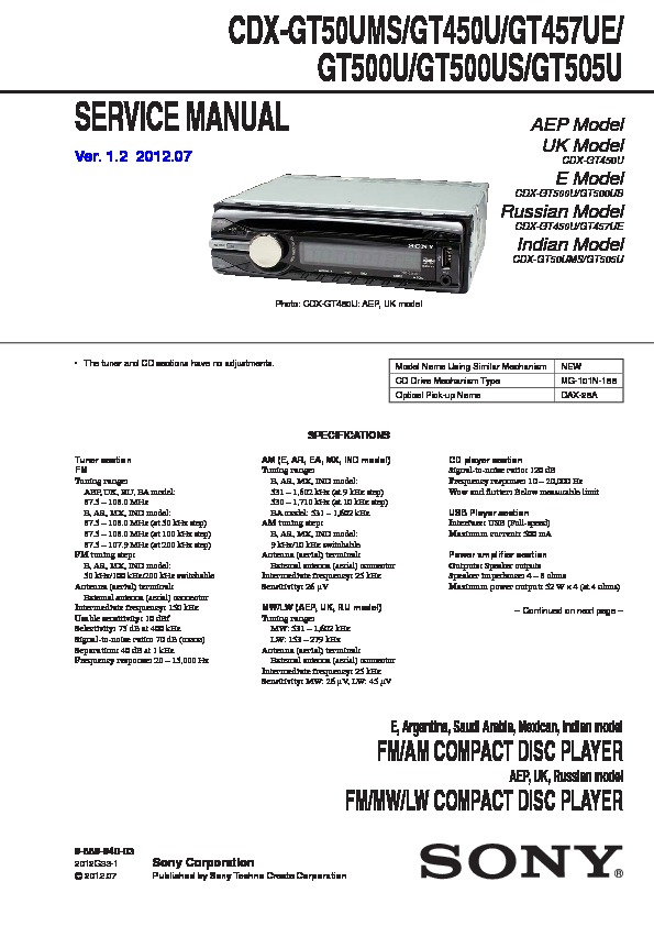 Sony CDX-GT400, CDX-GT40W, CDX-GT450, CDX-GT450S Service Manual ...
