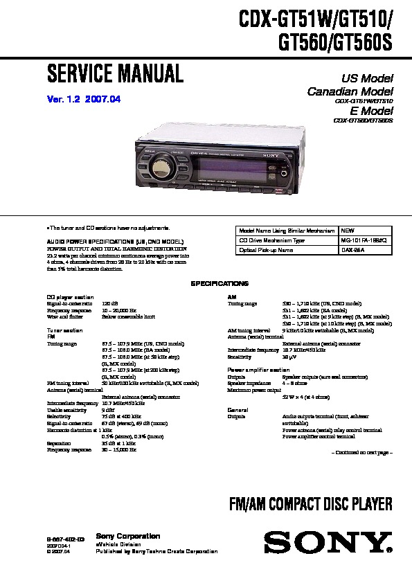 on Sony Cdx M610 Wiring Diagram