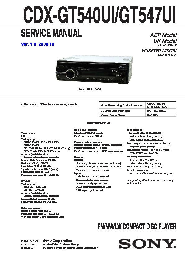 Sony CDX-GT540UI, CDX-GT54UIW Service Manual — View online ... on