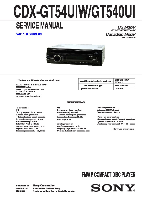 sony cdx gt540ui cdx gt54uiw service manual view online or rh servlib com Sony Deck Wiring-Diagram Sony Xplod Car Stereo Wiring Diagram