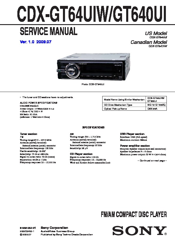 sony cdxgt640ui cdxgt64uiw service manual — view online