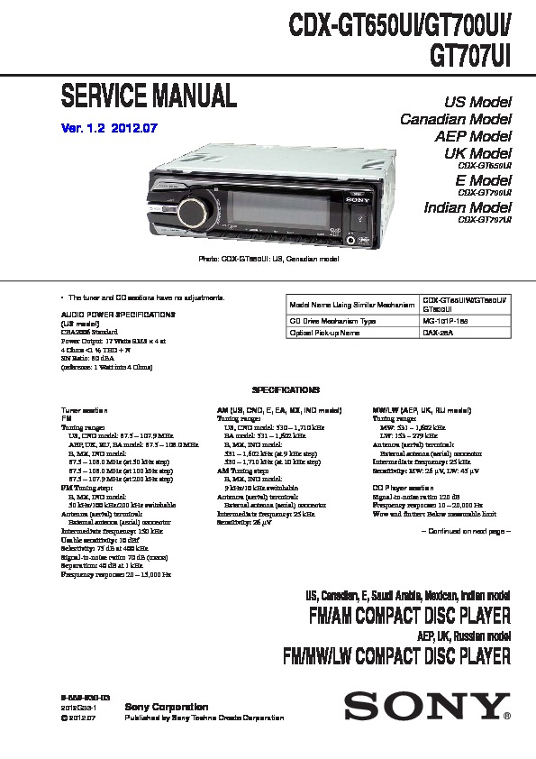 Sony Car Audio Service Manuals Page 31