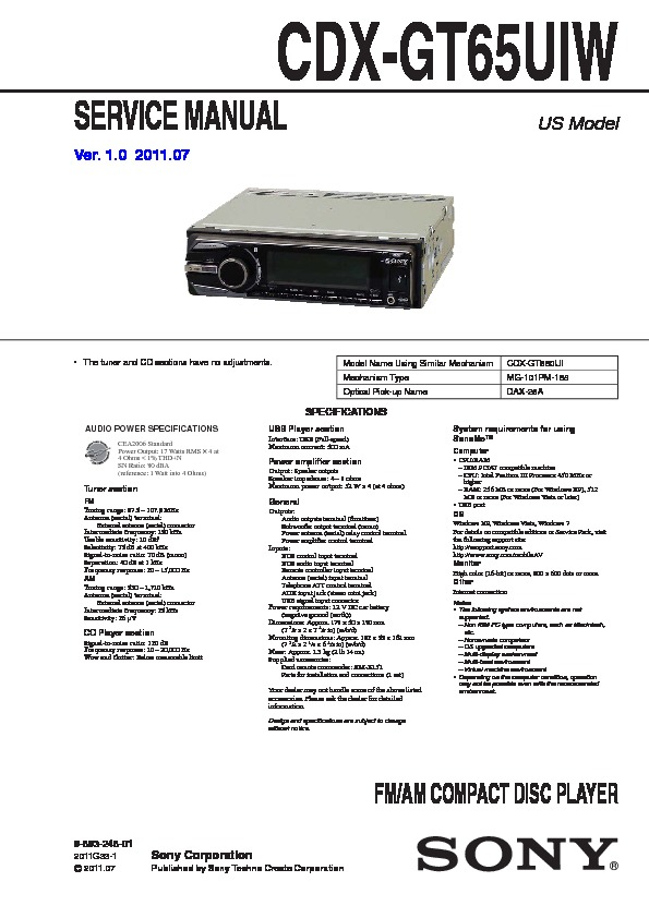 sony cdx-gt65uiw service manual — view online or download repair manual  service manuals and schematics