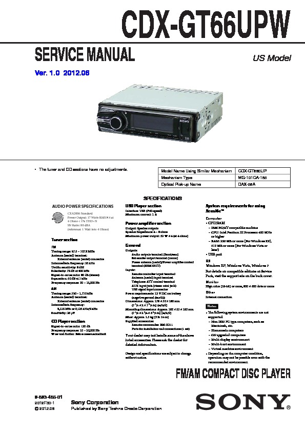 sony cdx-gt66upw service manual — view online or download repair manual  service manuals and schematics