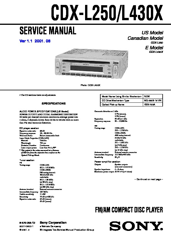 Sony Cdx L250 Wiring Diagram For Database. Sony Cdx L250 L430x Service Manual View Online Or Download Stereo Wire Harness. Wiring. Sony Cdx Gt520 Wiring Diagram Deck At Eloancard.info