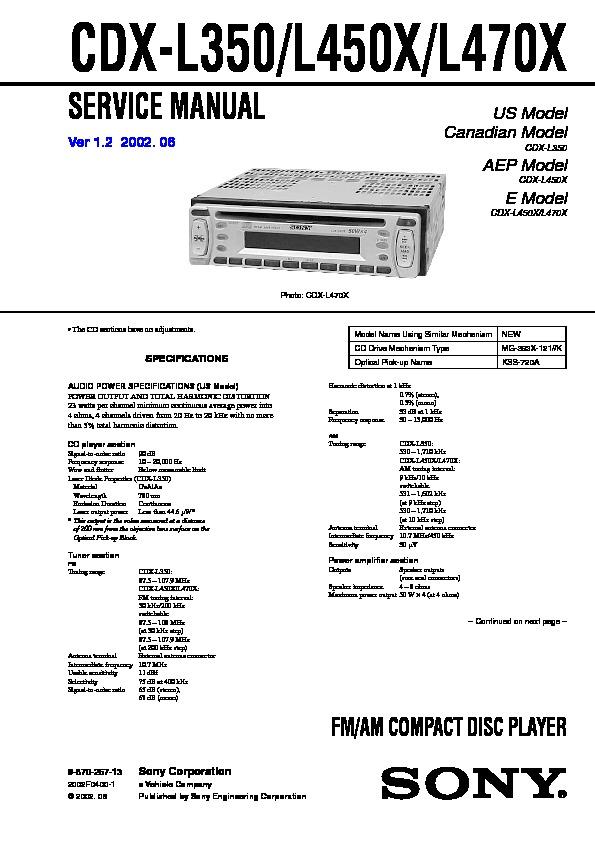 Sony CDX-L350, CDX-L450X, CDX-L470X, CXS-2100 Service Manual ...