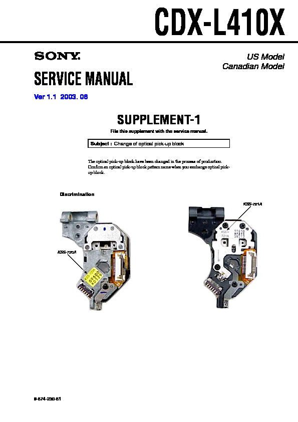 Sony CDX-L410 Service Manual — View online or Download ... on sony cdx-gt270mp, sony cdx-gt575up, sony portable cd player, sony cdx-gt260mp, sony single din dvd car stereo,