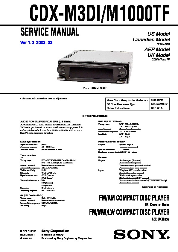 sony cdx m10 cdx mr10 service manual view online or cdx m1000tf cdx m3di service manual