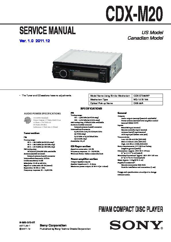 sony cdx m20 service manual view online or download repair manual rh servlib com sony cdx-m20 wiring diagram sony cdx-m20 wiring diagram