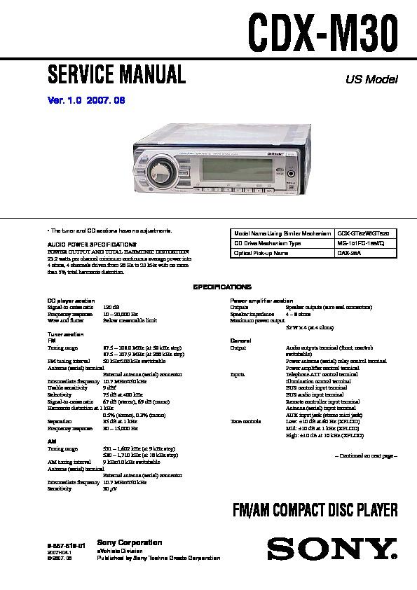 Sony Cdx M30 Service Manual View, Sony Cdx Gt270 Wiring Diagram