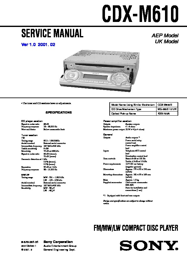 Wiring Diagram Sony Cdx M630 - Auto Electrical Wiring Diagram on