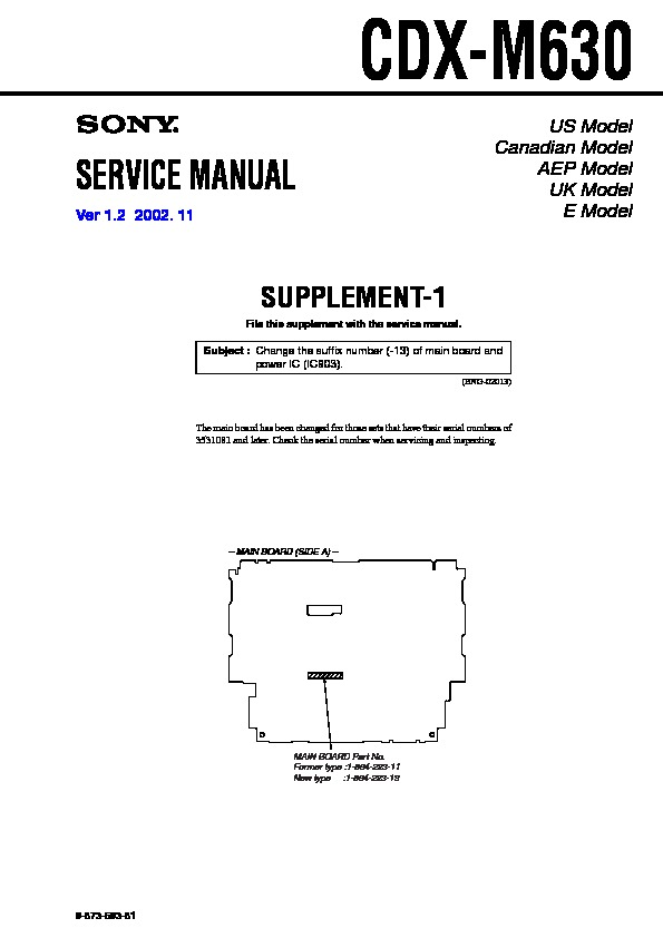 Sony CDX-M630 (SERV.MAN2) Service Manual — View online or Download repair  manualservice manuals, schematics, repair manuals