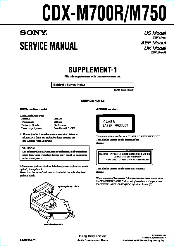 sony cdx m700r cdx m750 serv man2 service manual view online or rh servlib com Sony Deck Wiring-Diagram Sony Xplod Wiring-Diagram