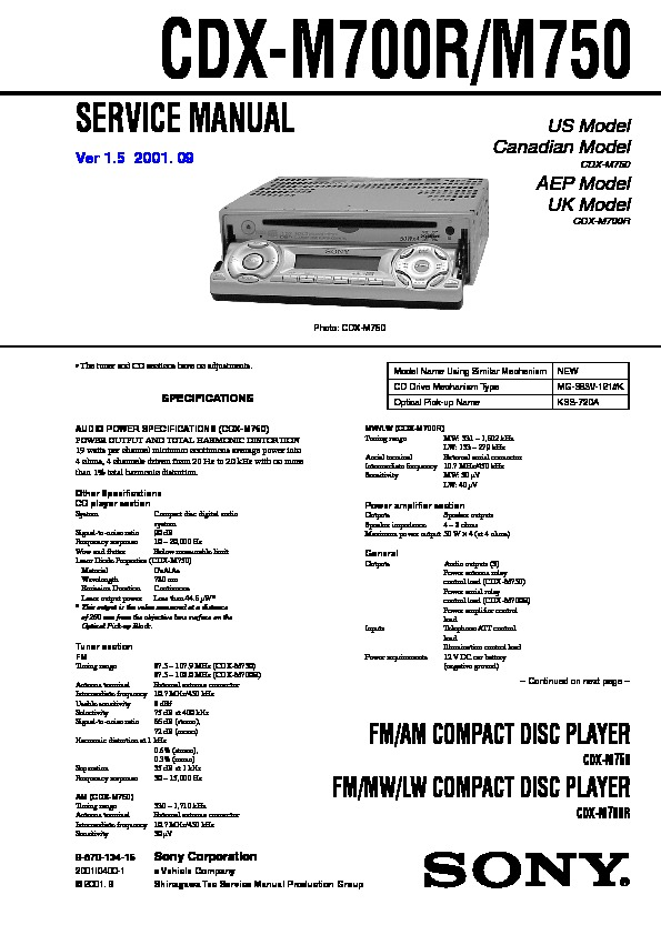 sony cdx m700r cdx m750 service manual view online or download rh servlib com Sony Wiring Harness Colors Sony Stereo Wiring Colors