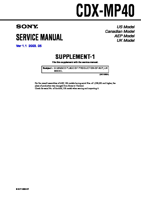 Sony CDX-MP40 Service Manual — View online or Download repair manual