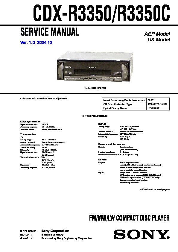 Sony Cdx R3350 R3350c Service