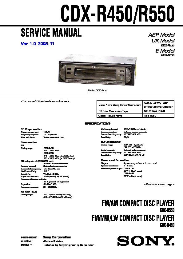 sony cdxr450 cdxr550 service manual — view online or