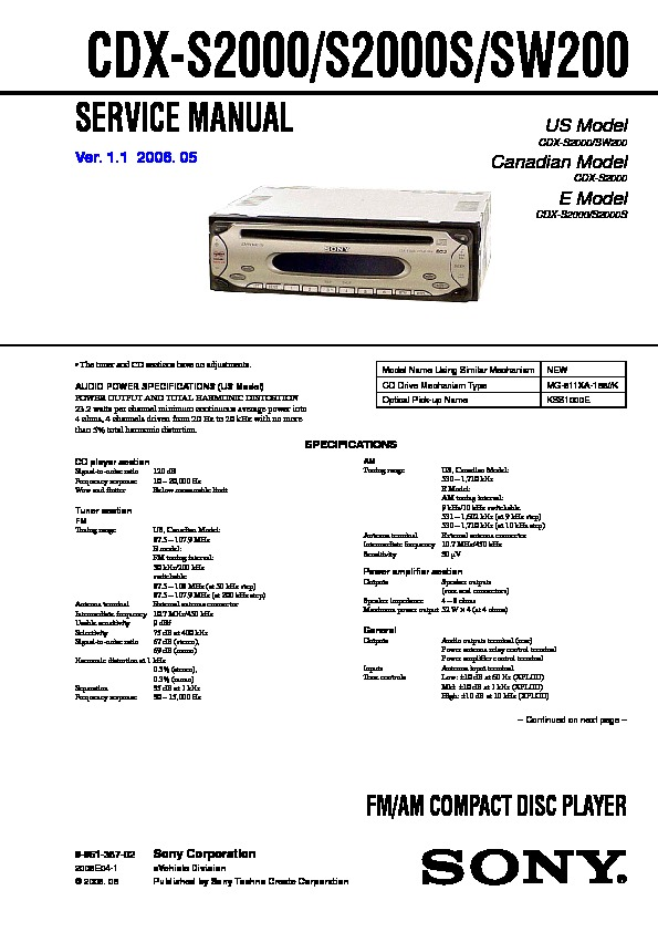 Sony CDX-S2000, CDX-S2000S, CDX-SW200 Service Manual — View online ...