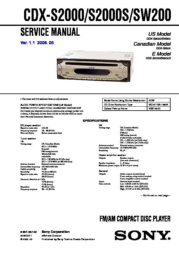 Sony Cdx Sw200 Wiring Diagram Car Stereo Wiring Diagram Database