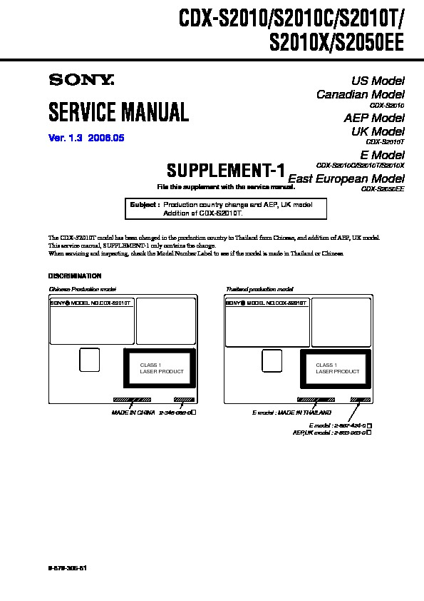 sony cdxs2050 service manual — view online or download