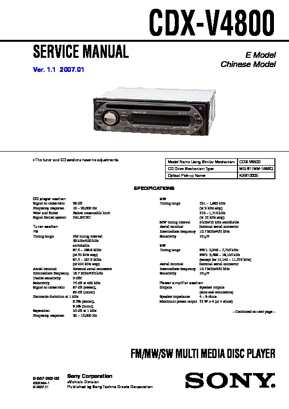 sony cdxv4800 service manual — view online or download