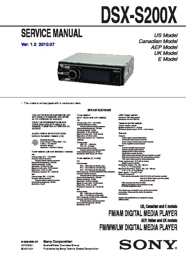 sony dsx s200x service manual \u2014 view online or download  sony dsx s210x single din digital media