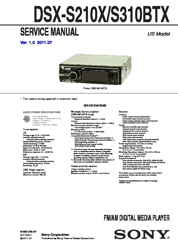 Sony Dsx S310btx Wiring Diagram For - Product Wiring Diagrams •