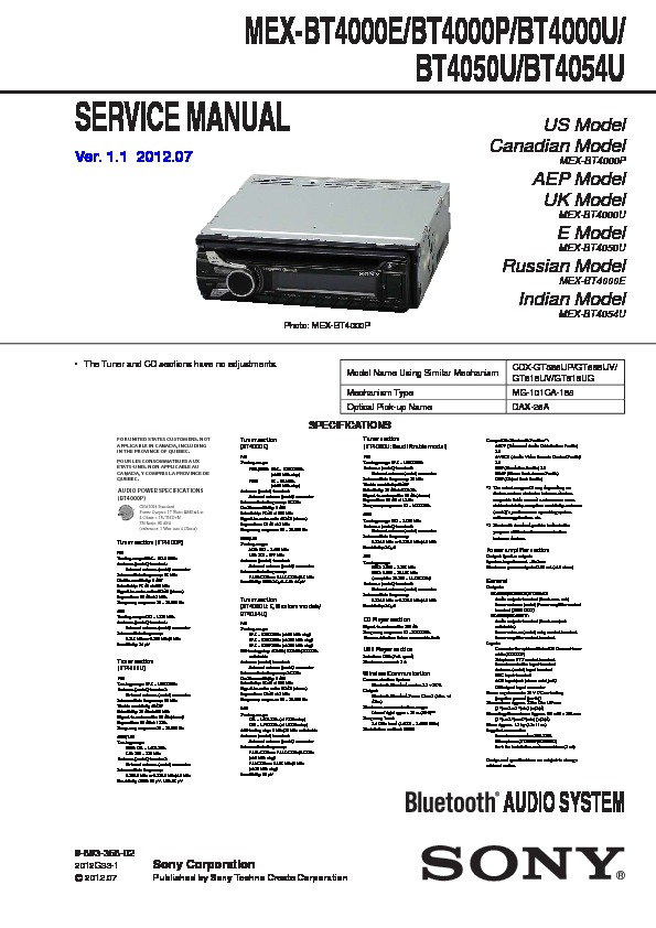 Sony Mex Bt4000e Mex Bt4000p Mex Bt4000u Mex Bt4050u Mex Bt4054u Service Manual View Online Or Download Repair Manual