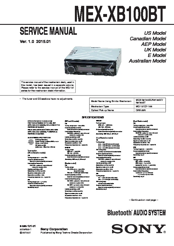 Sony Mex Xb100bt Service Manual View Online Or Download