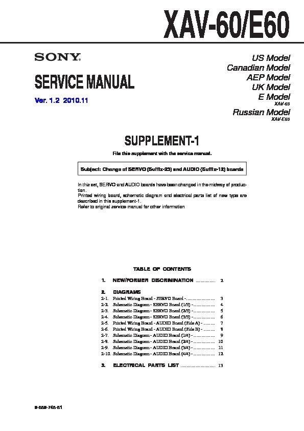 sony xav 60 xav e60 serv man2 service manual view online or rh servlib com Sony XAV 7W Wires Sony XAV-60 Bypass