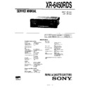 Sony XR-6450RDS Service Manual