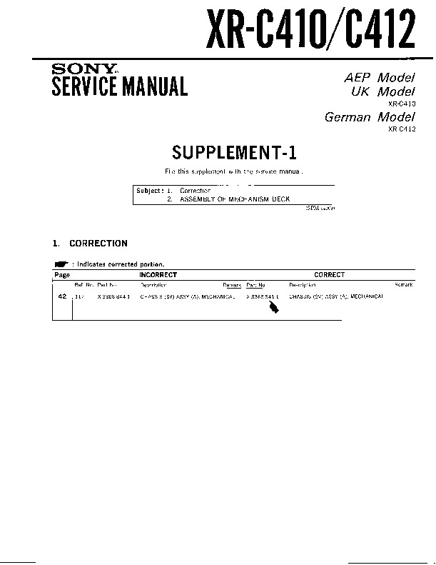 sony xr c410 xr c412 service manual view online or xr c410 xr c412 serv man2 service manual