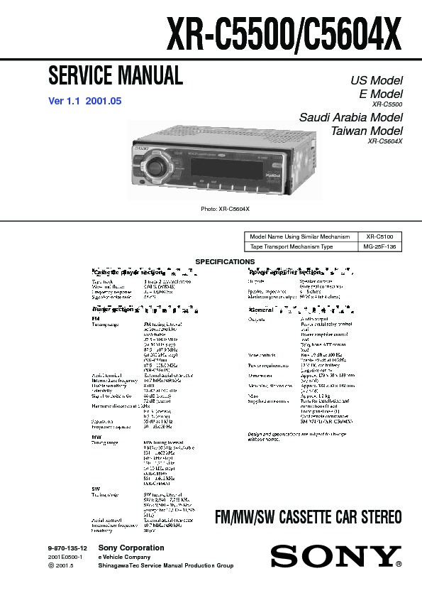 sony xr c5500 xr c5604x service manual view online or download rh servlib com 1 Mg Powder moog mg-1 service manual