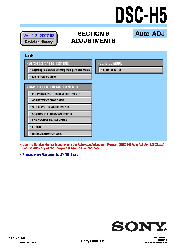 sony dsc h5 serv man3 service manual view online or download rh servlib com Digital Camera Sony Cyber-shot DSC H5 Sony Camera Accessories