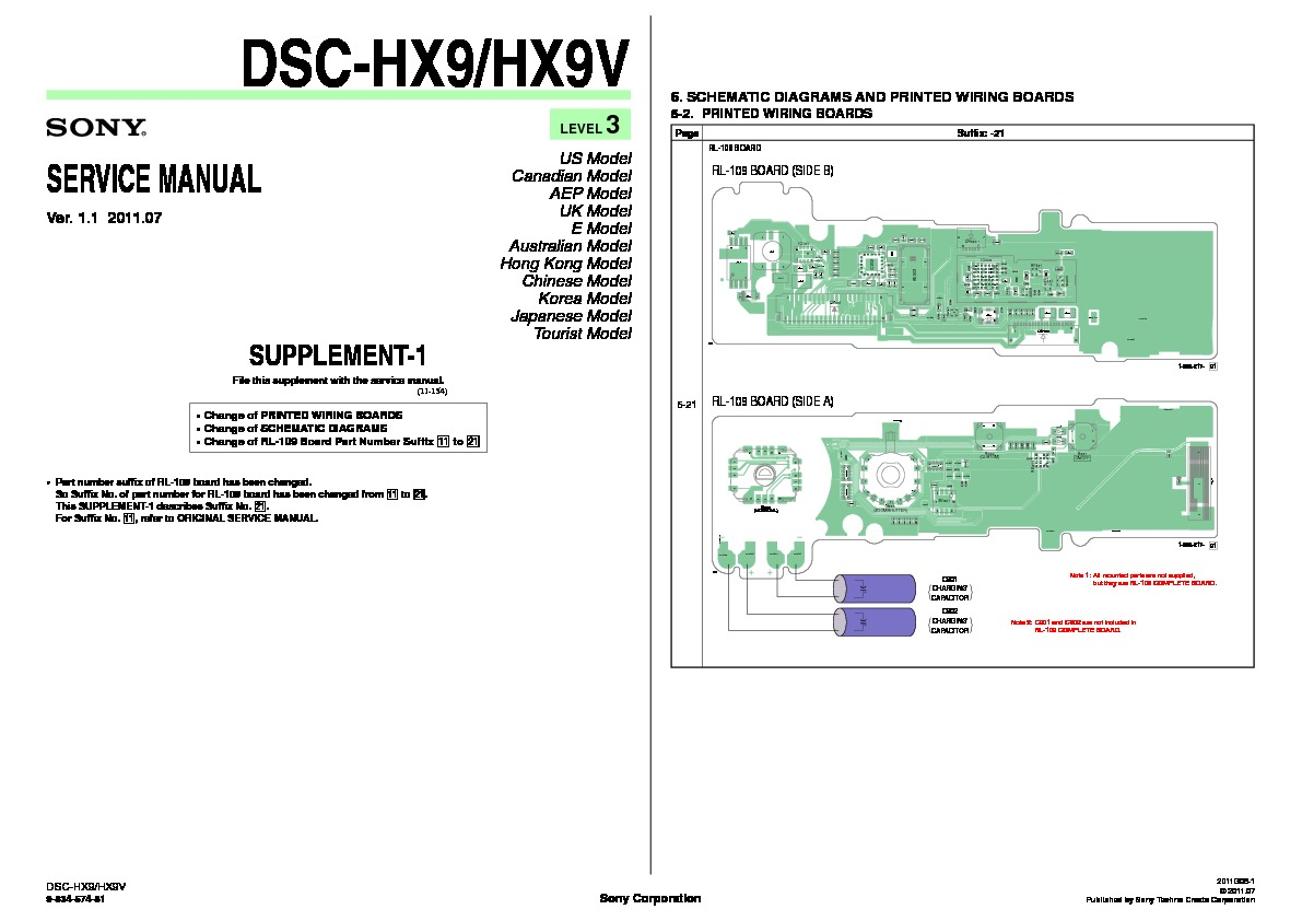 Sony Dsc Hx9 Hx9v Servman4 Service Manual View Online Or Wiring Diagram