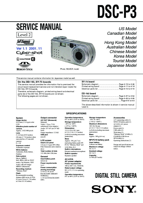 Sony DSC-P3 (SERV.MAN3) Service Manual — View online or Download ...