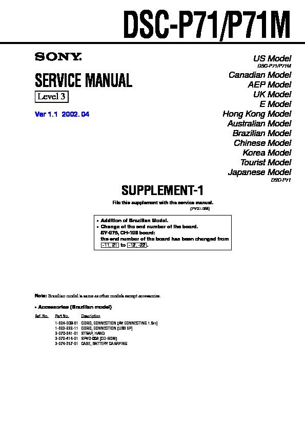 Sony Dsc P7 Serv Man3 Service Manual View Online Or Download Repair Manual