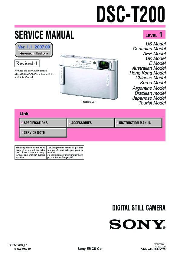 sony dsc t200 serv man3 service manual view online or download rh servlib com