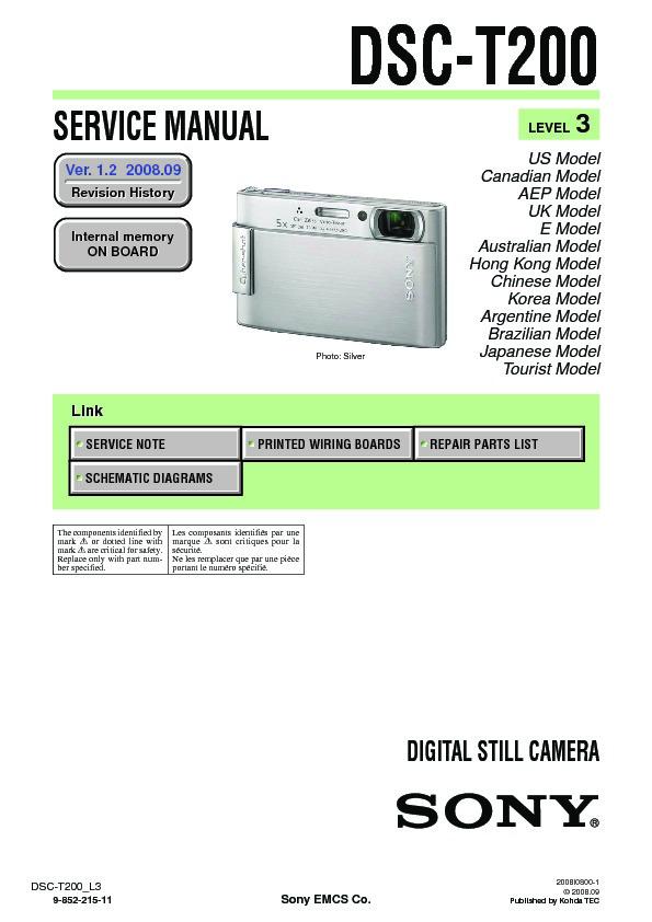 sony dsc t200 service manual view online or download repair manual rh servlib com Sony DSC W55 Sony DSC- H50