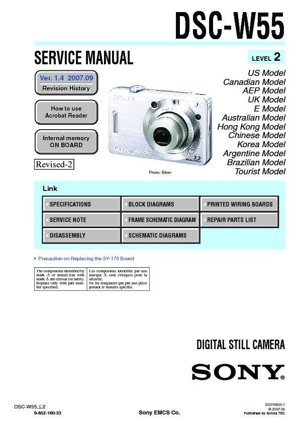 sony dsc w55 serv man2 service manual view online or download rh servlib com sony cyber shot w55 manual sony cyber shot w55 manual
