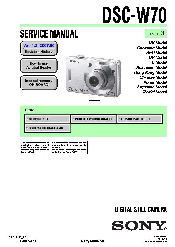 sony dsc w70 service manual view online or download repair manual rh servlib com Sony Cyber-shot DSC W1 W1-2 sony cyber shot dsc w710 manual