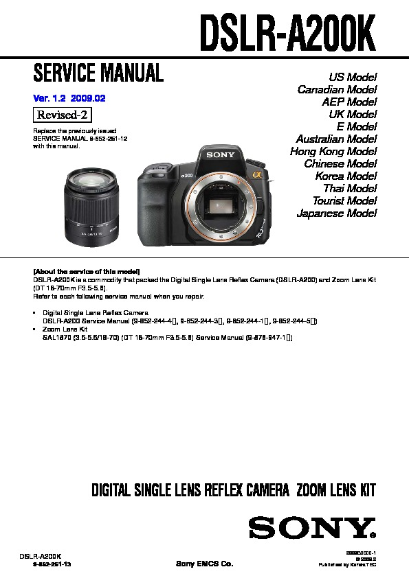 sony dslr a200k service manual view online or download repair manual rh servlib com Sony A200 Camera Sony A200 Flash