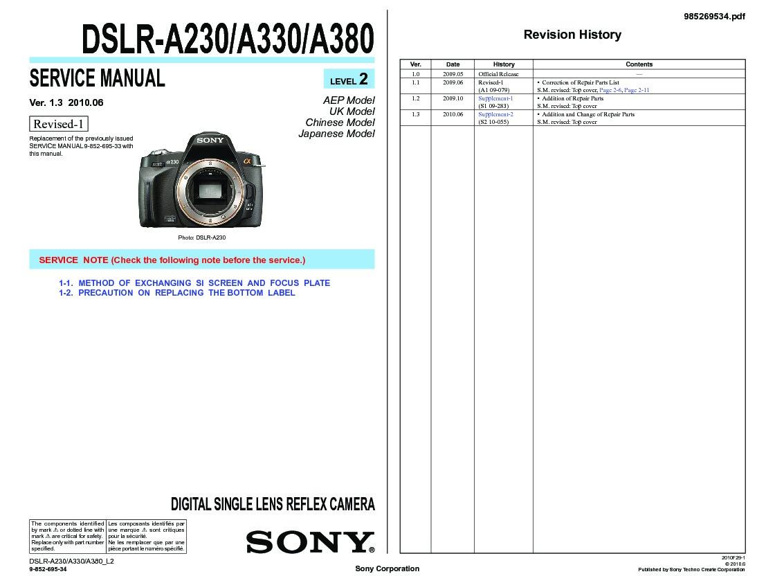 sony dslr a230 dslr a330 dslr a380 service manual view online or rh servlib com sony alpha a380 manual.pdf sony a380 service manual