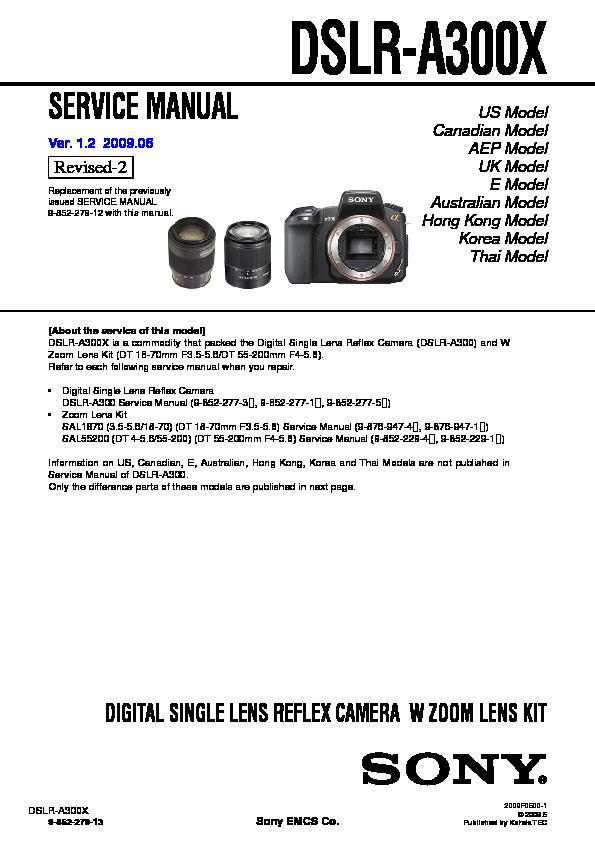 sony dslr a300 service manual view online or download repair manual rh servlib com sony a300 repair manual sony ta-a300 service manual