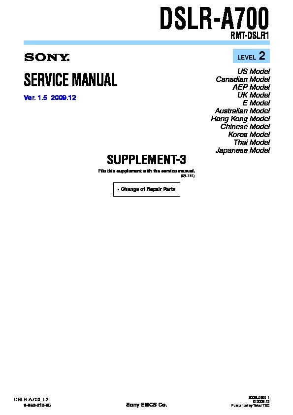 sony dslr a700 serv man5 service manual view online or download rh servlib com scubapro a700 service manual studer revox a700 service manual