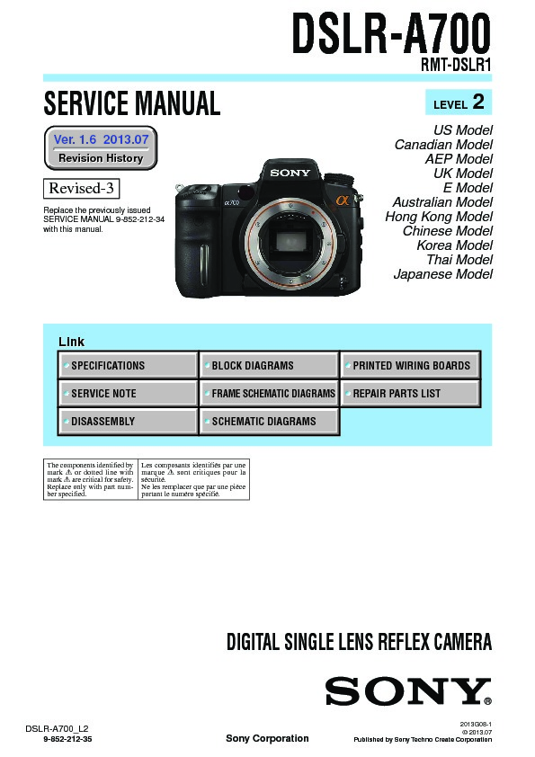 sony dslr a700 service manual view online or download repair manual rh servlib com Sony A7 Old SLR Camera Silver Sony